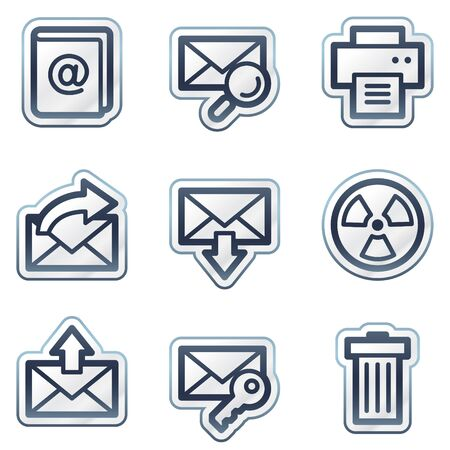 E-mail web icons set 2, deep blue contour sticker series Vector