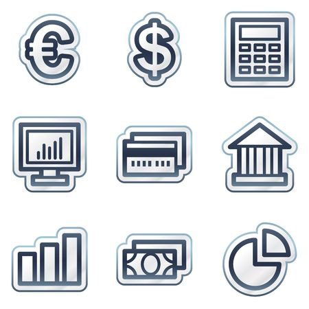 deep blue: Finance web icons set 1, deep blue contour sticker series