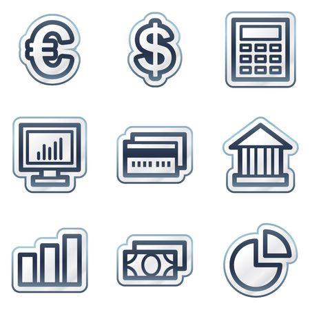 Finance web icons set 1, deep blue contour sticker series Stock Vector - 6826812