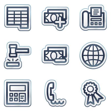 Finance web icons set 2, deep blue contour sticker series Vector