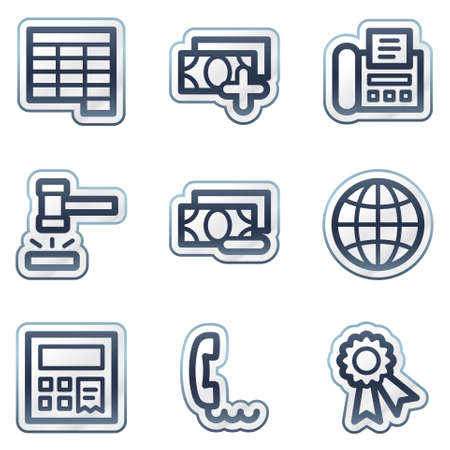 verify: Finance web icons set 2, deep blue contour sticker series Illustration