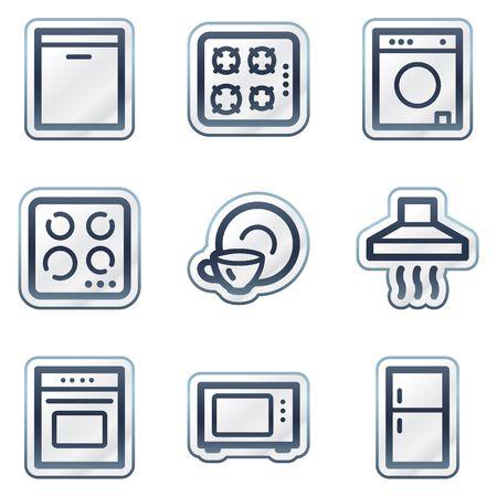 lavavajillas: Electrodom�sticos web serie de contorno pegatina de iconos, azul profundo  Vectores