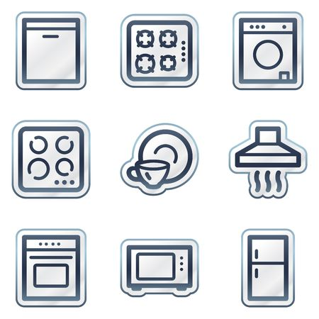 Home appliances web icons, deep blue contour sticker series Vector