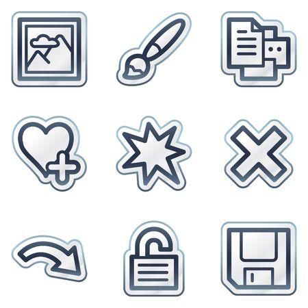 Image viewer web icons set 2, deep blue contour sticker series Vector