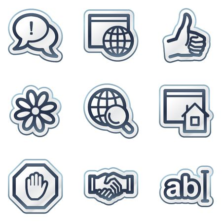 Internet web icons set 1, deep blue contour sticker series