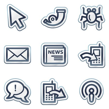 Internet web icons set 2, deep blue contour sticker series Vector