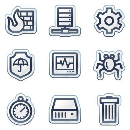 Internet security web icons, deep blue contour sticker series Vector