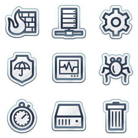 deep blue: Internet security web icons, deep blue contour sticker series