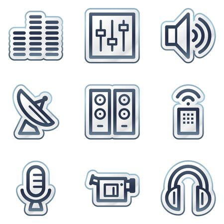 Media web icons, deep blue contour sticker series Stock Vector - 6826828