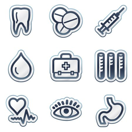 tooth icon: Medicine web icons set 1, deep blue contour sticker series