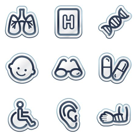 Medicine web icons set 2, deep blue contour sticker series Stock Vector - 6826836