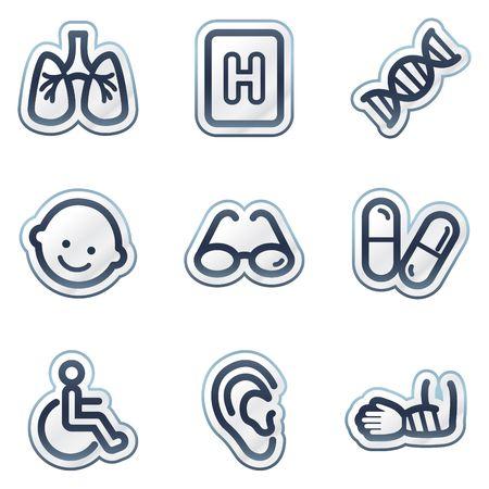 kinder: Medicine web icons set 2, deep blue contour sticker series