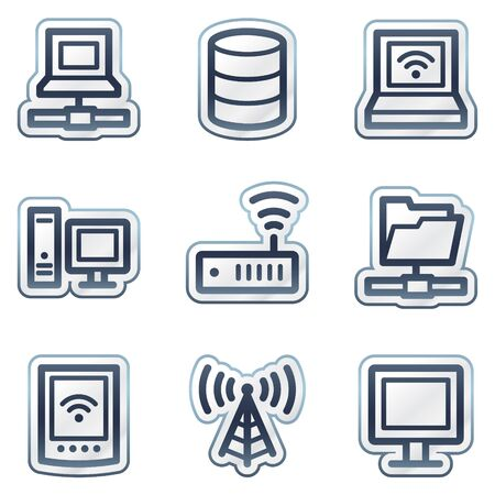 Network web icons, deep blue contour sticker series Vector