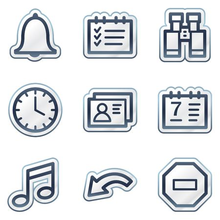 Organizer web icons, deep blue contour sticker series