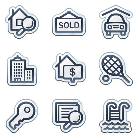 Real estate web icons, deep blue contour sticker series Vector