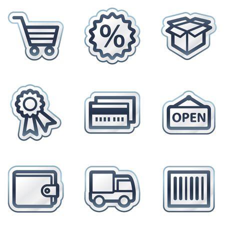 Shopping web icônes ensemble 2, série de vignette contour bleu foncé