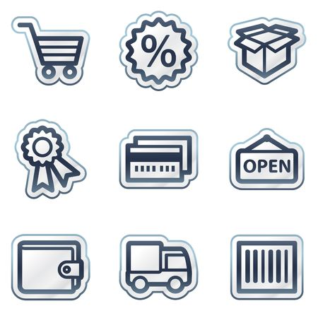 package icon: Shopping web icons set 2, deep blue contour sticker series