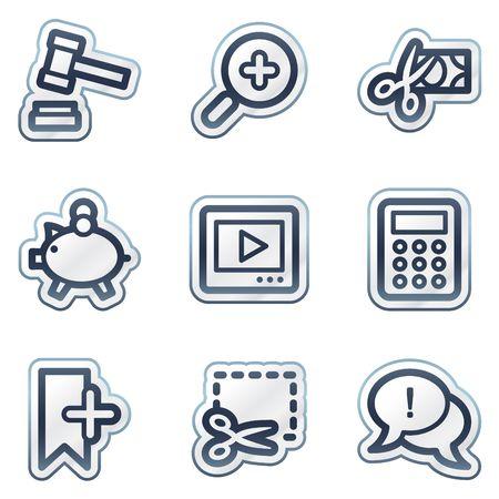 Shopping web icons set 3, deep blue contour sticker series Vector