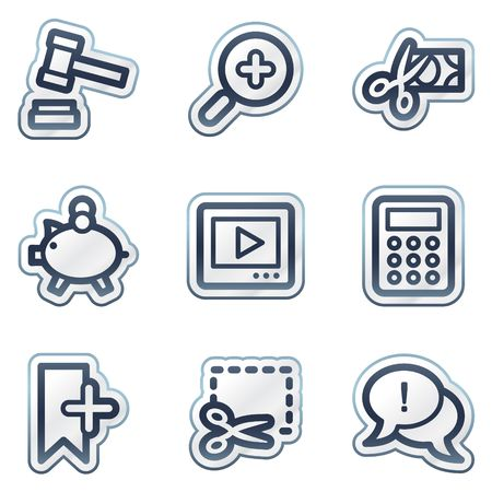 Shopping web icons set 3, deep blue contour sticker series Иллюстрация