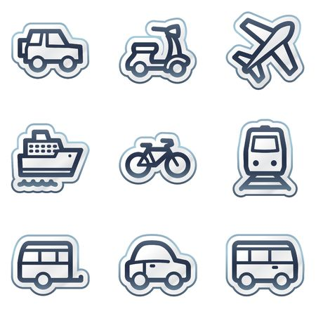 Transport web icons, deep blue contour sticker series