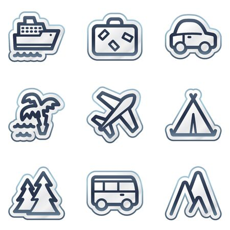 Travel web icons set 1, deep blue contour sticker series Vector