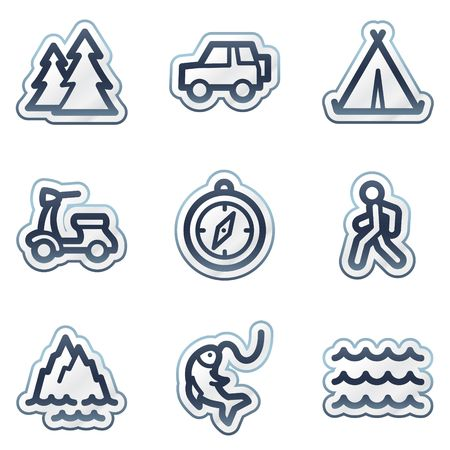 Travel web icons set 3, deep blue contour sticker series