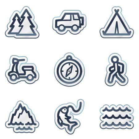 Travel web icons set 3, deep blue contour sticker series