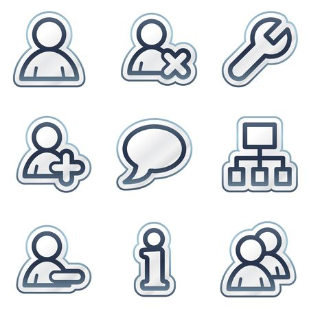 Users web icons, deep blue contour sticker series Stock Vector - 6826808