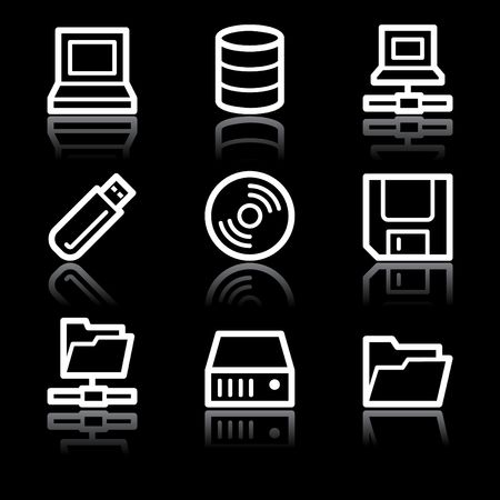 fdd: White contour drives and storage web icons V2 Illustration