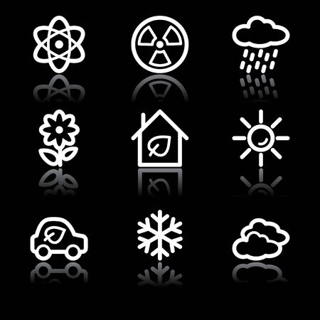 White contour ecology web icons V2 set 2 Stock Vector - 6826891