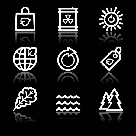 White contour ecology web icons V2 set 3 Stock Vector - 6826886