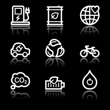 electro world: White contour ecology web icons V2 set 4 Illustration