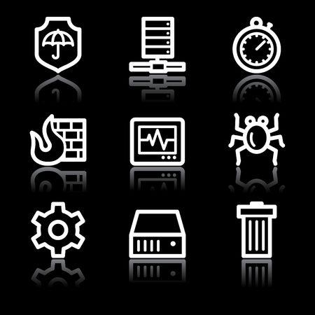 adware: White contour internet security web icons V2