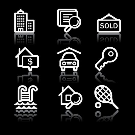 swimming pool home: White contour real estate web icons V2