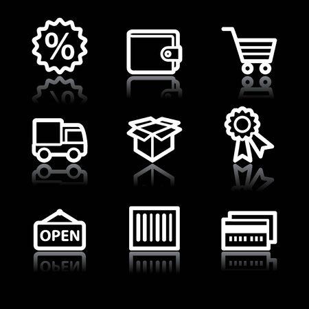 White contour shopping web icons V2 set 2 Stock Vector - 6826887