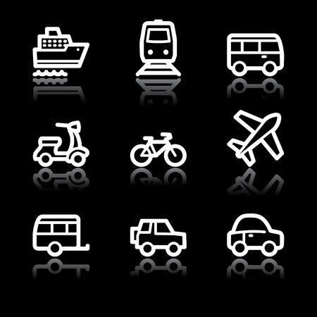 steamship: Witte contour vervoer web icons V2 Stock Illustratie