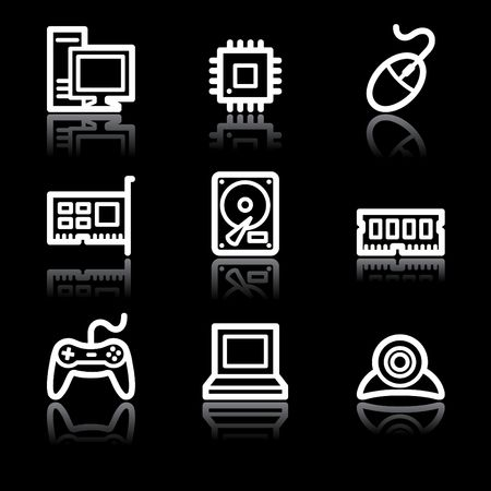 White contour computer web icons V2 Stock Photo - 6826803