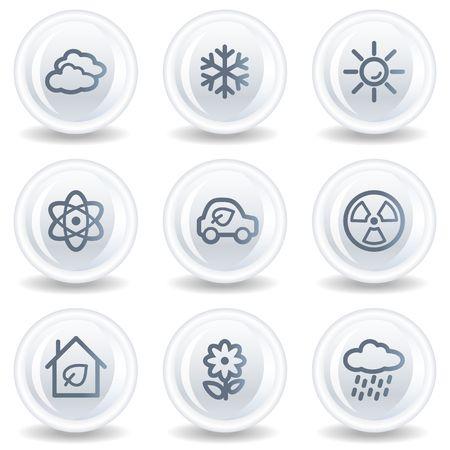 Ecology web icons set 2, white glossy circle buttons Stock Photo - 6826930