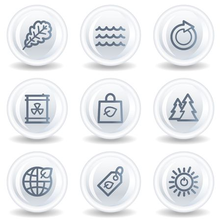 Ecology web icons set 3, white glossy circle buttons Stock Photo - 6826932