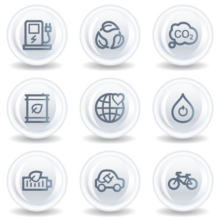 electro world: Ecology web icons set 4, white glossy circle buttons