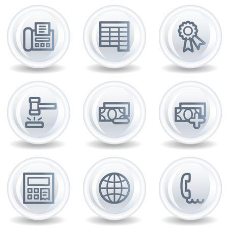Finance web icons set 2, white glossy circle buttons Stock Photo - 6826937