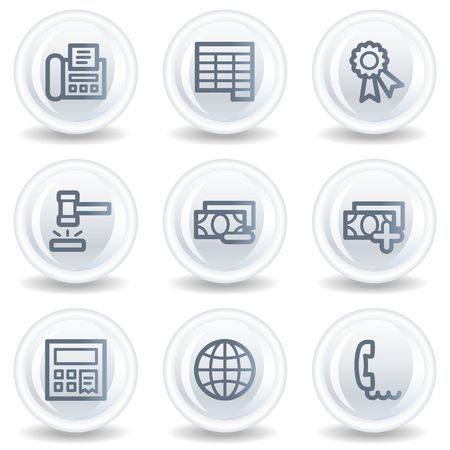 Finance web icons set 2, white glossy circle buttons Stock Photo - 6826937