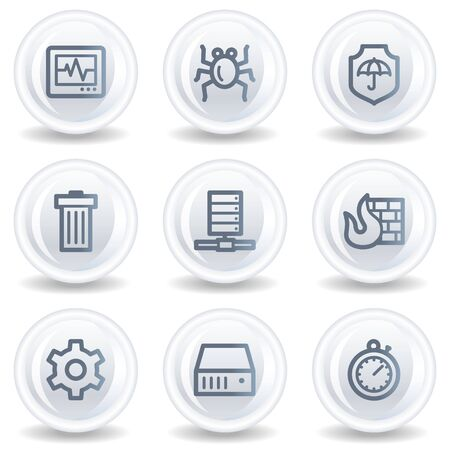 Internet security web icons, white glossy circle buttons Stock Photo - 6826927