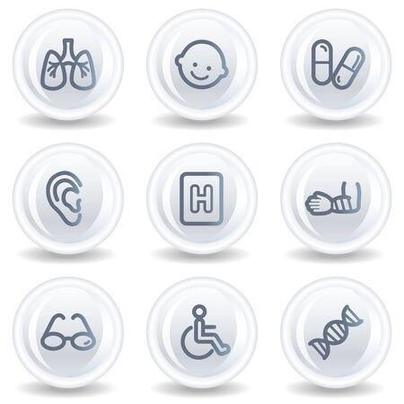 traumatic: Medicine web icons set 2, white glossy circle buttons Stock Photo