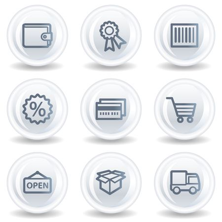 Shopping web icons set 2, white glossy circle buttons Stock Photo - 6826922