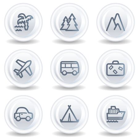 air liner: Travel web icons set 1, white glossy circle buttons Stock Photo