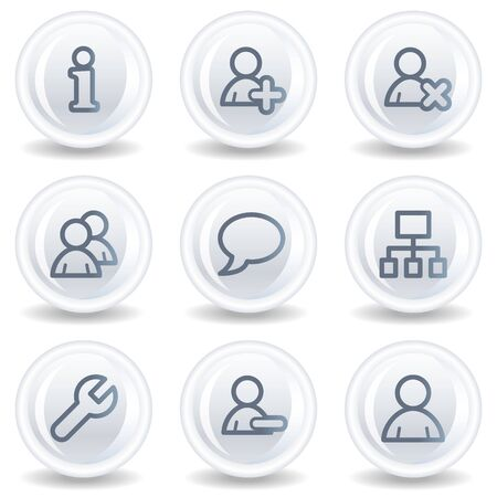 Users web icons, white glossy circle buttons Stock Photo - 6826916