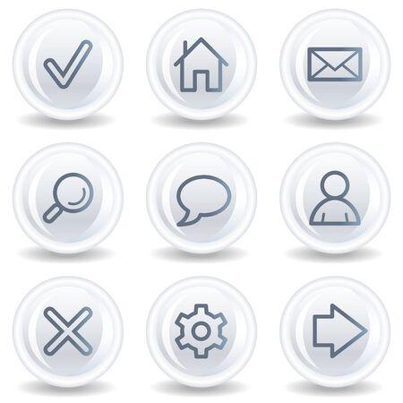 Basic web icons, white glossy circle buttons Stock Photo - 6826900