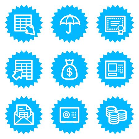 Banking web icons, blue sticker series Vector