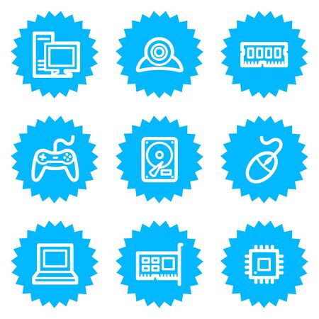 Computer web icons, blue sticker series Stock Vector - 6872883